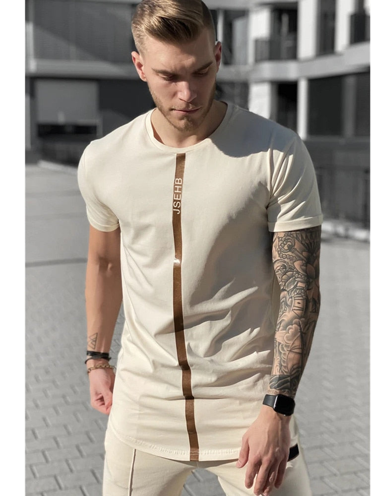 Short Sleeve O-Neck Silk Summer Men T-shirt