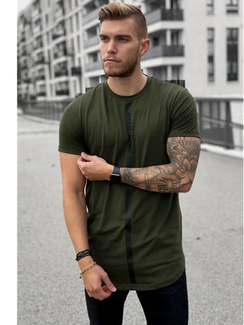 Short Sleeve O-Neck Silk Summer Men Green T-shirt