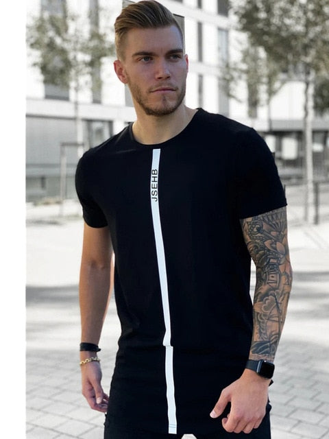 Short Sleeve O-Neck Silk Summer Men Black T-shirt
