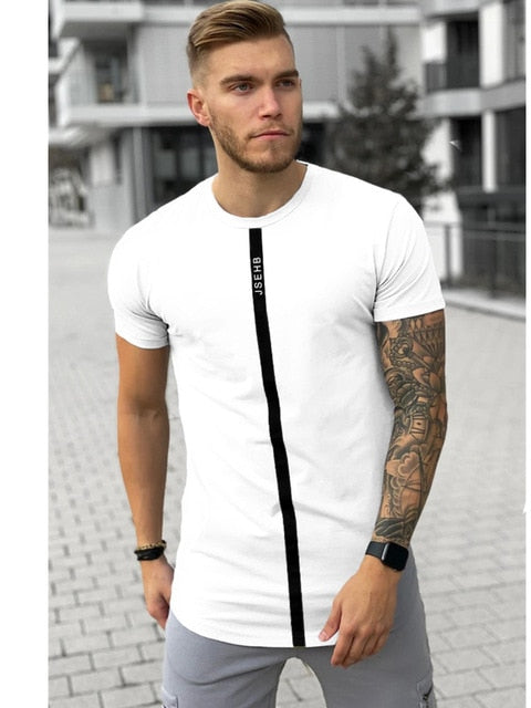 Short Sleeve O-Neck Silk Summer Men White T-shirt