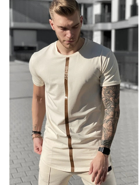 Short Sleeve O-Neck Silk Summer Men Khaki T-shirt