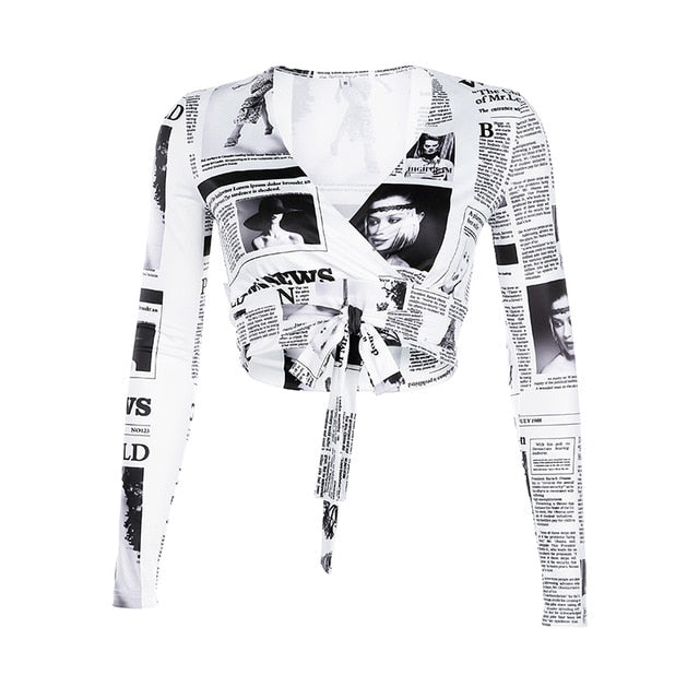 Deep V-Neck Newspaper Letter Print Women Crop To