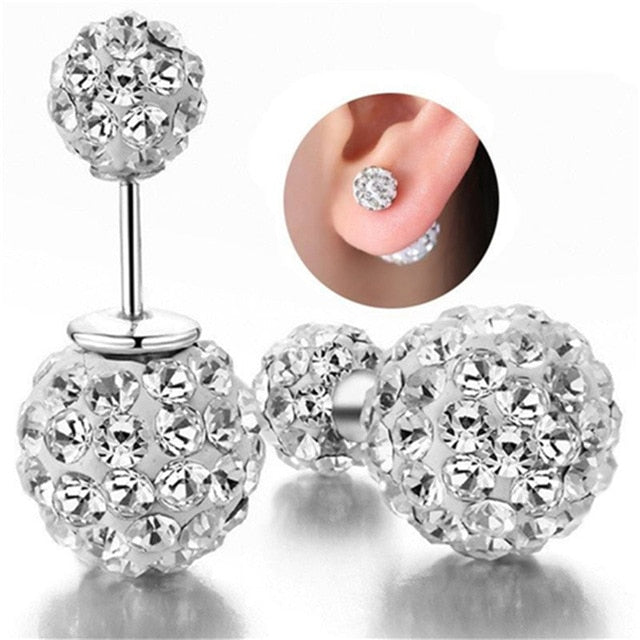 Vintage 925 Sterling Silver Zirconia Stud Earrings