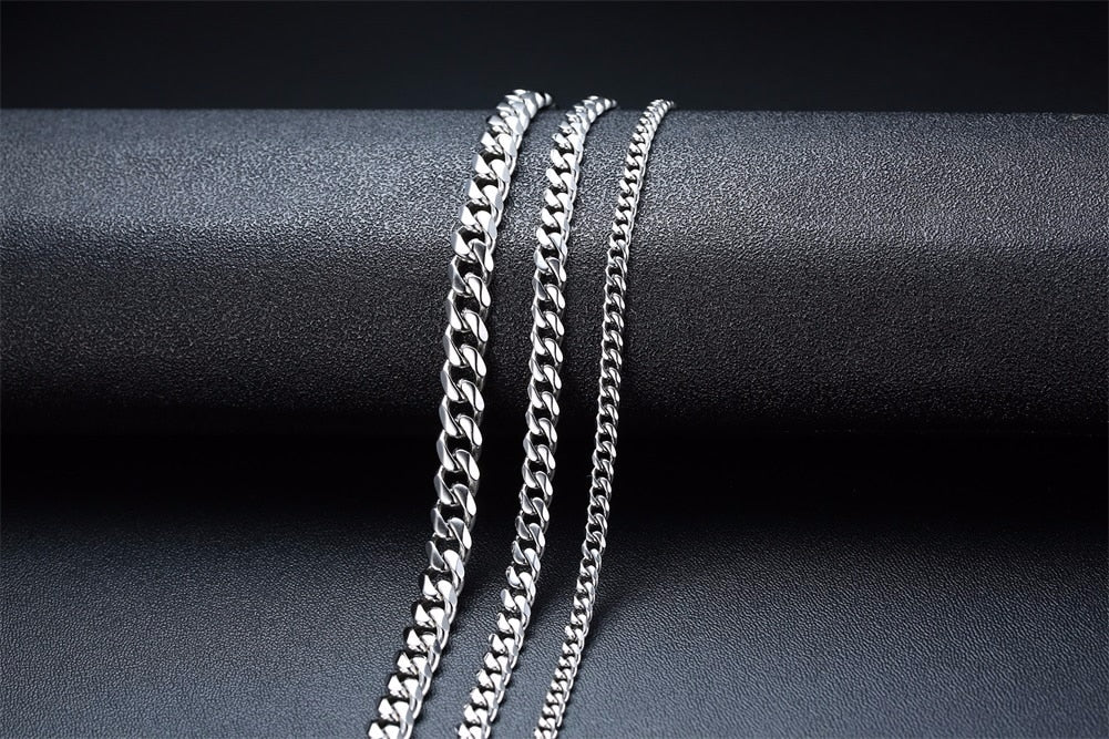 Trendy Stainless Steel Cuban Chain Necklace For Men