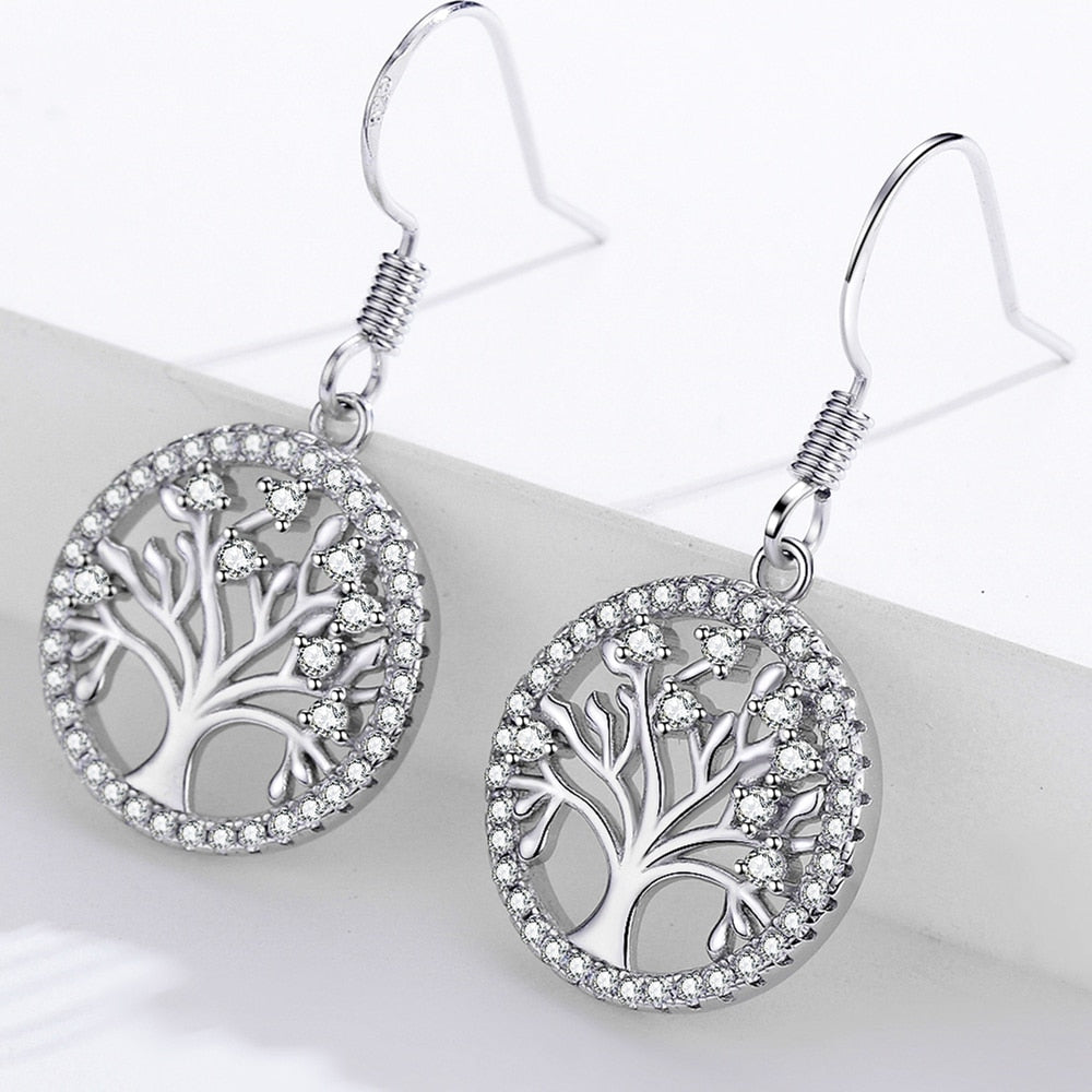 Authentic 925 Sterling Silver Life Tree Drop Earrings