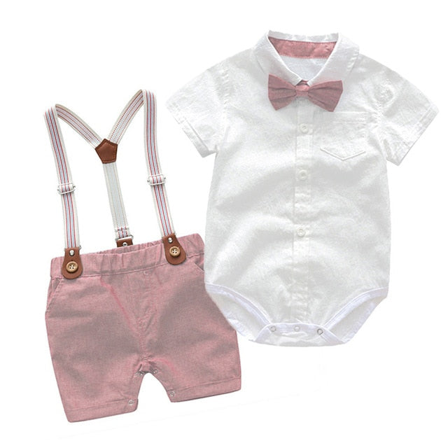 Soft Cotton Solid Gentleman Romper With Belt Pants For Baby Boys