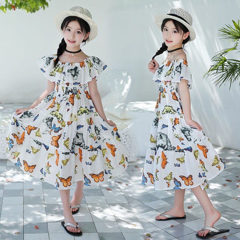 Off Shoulder Bohemian Floral Maxi Sundress For Girls