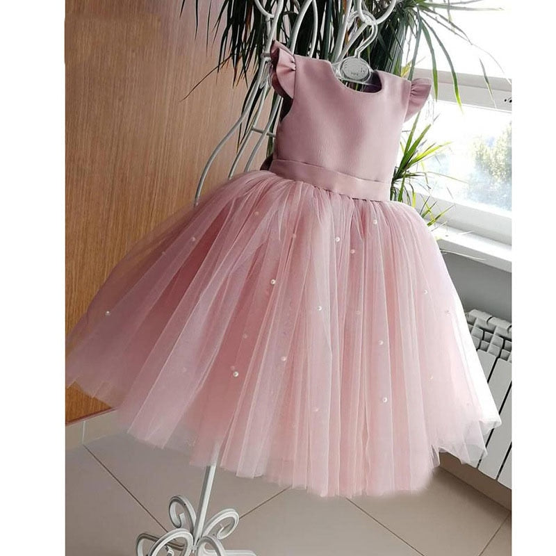 Backless Beading Tulle Peach Pink Flower Girls Dress For Wedding