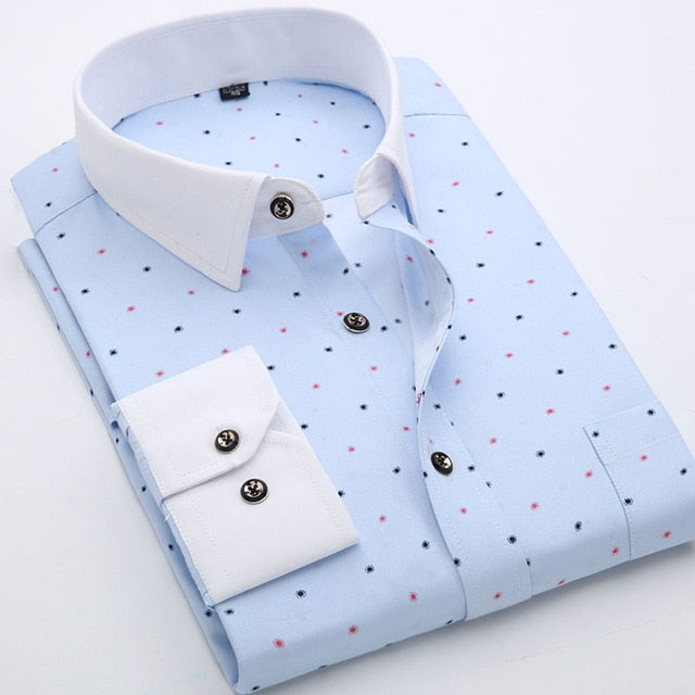 Long Sleeve Soft Thin Floral Printed Men's Shirt