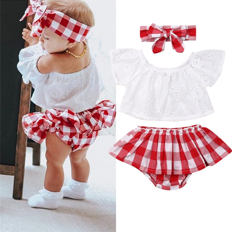 Off Shoulder Tops With Plaid Short Dress & Headband Outfits For Baby Girls