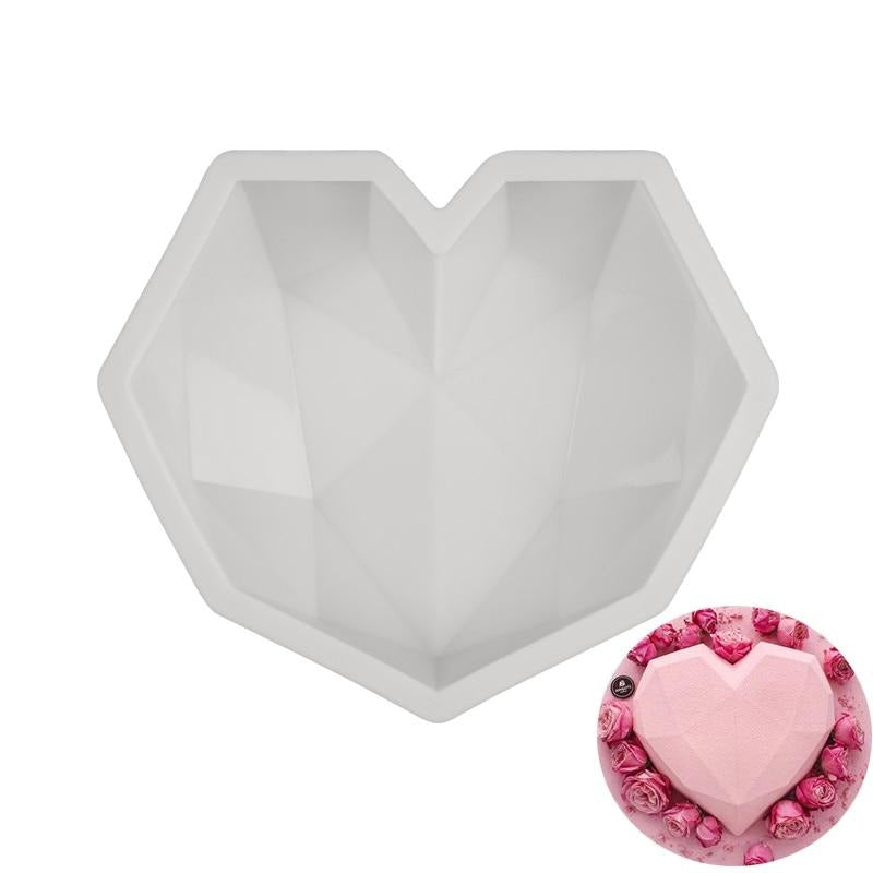 3D Diamond Love Heart Shape Silicone Molds For Baking