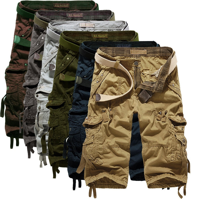 Multi-Pocket Calf-Length Cargo Shorts For Men