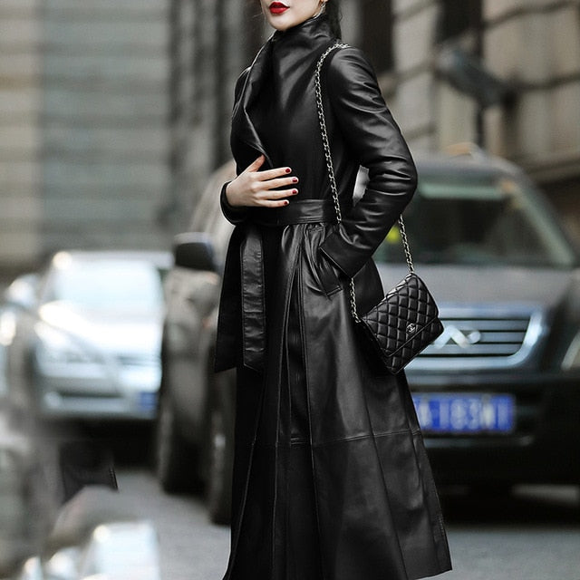 Plus Size Belted Skirted Black Leather Long Trench Coat For Women