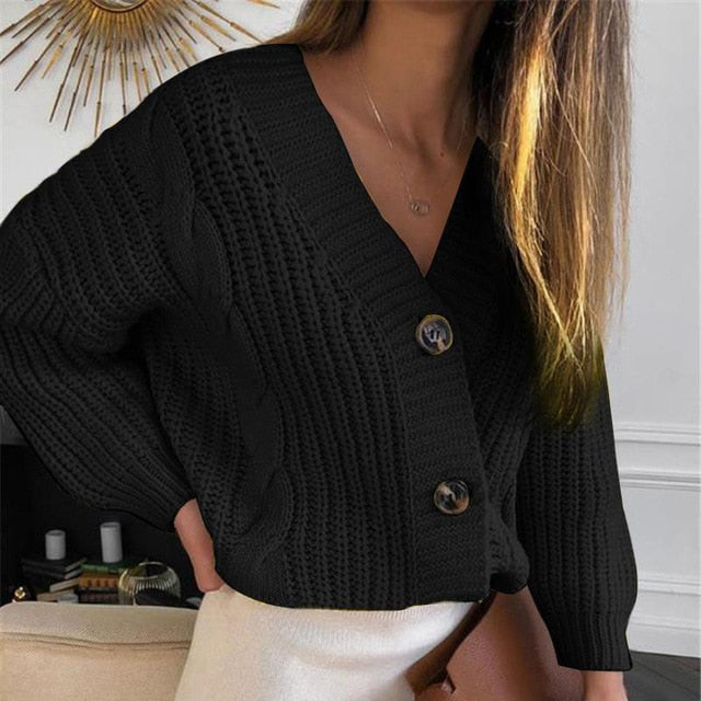 V-Neck Long Sleeve Knitted Women's Short Black Cardigan