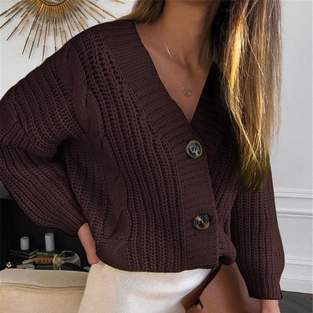 V-Neck Long Sleeve Knitted Women's Short Wine Red Cardigan