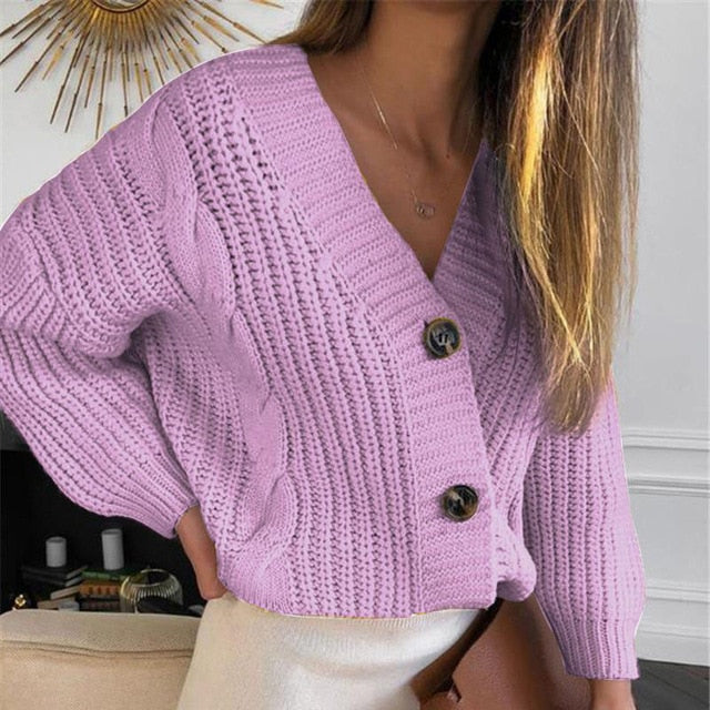 V-Neck Long Sleeve Knitted Women's Short Purple Cardigan