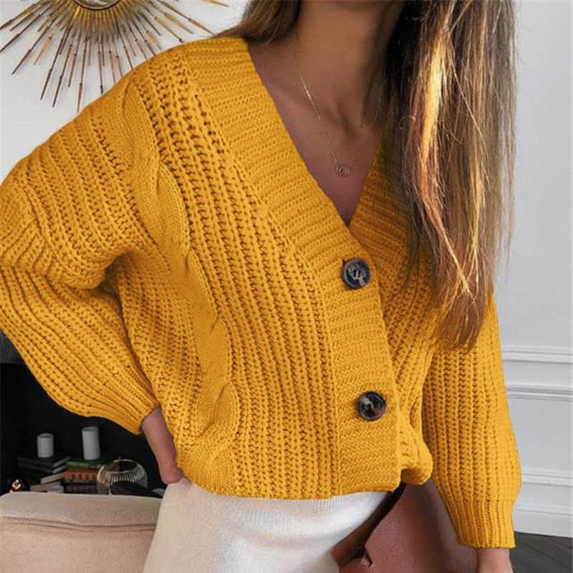 V-Neck Long Sleeve Knitted Women's Short Cardigan
