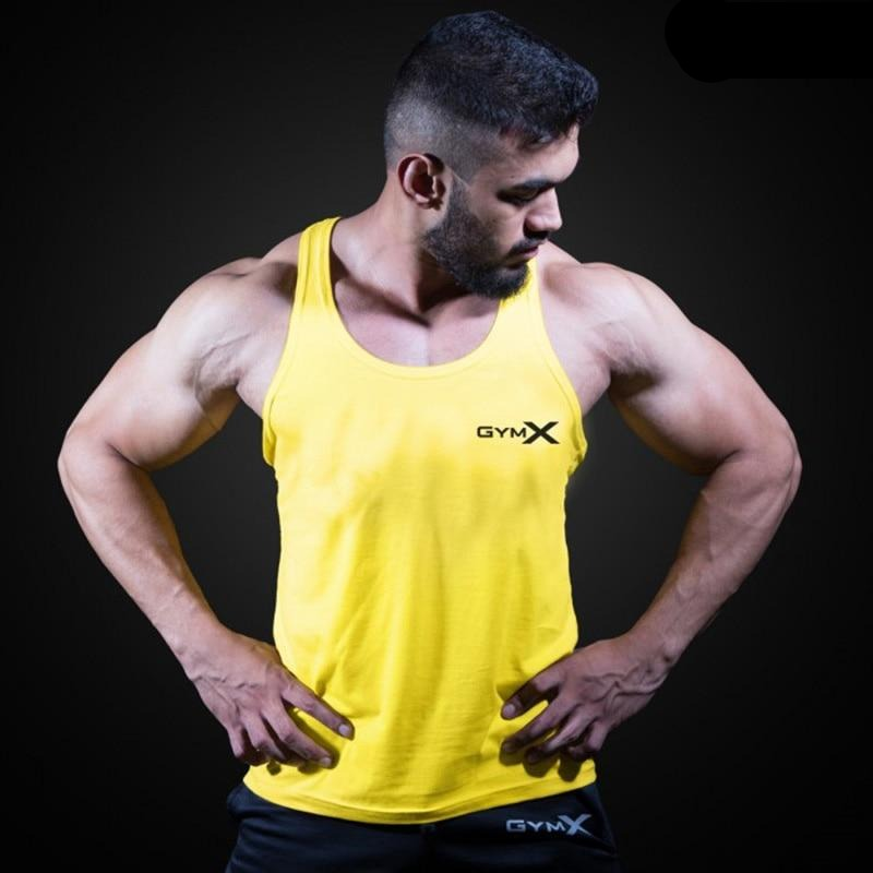 Sleeveless Sling Tight Cotton Bodybuilding Men's Yellow Tank Tops