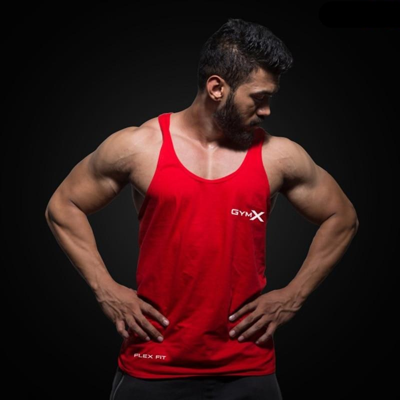 Sleeveless Sling Tight Cotton Bodybuilding Men's Red Tank Tops