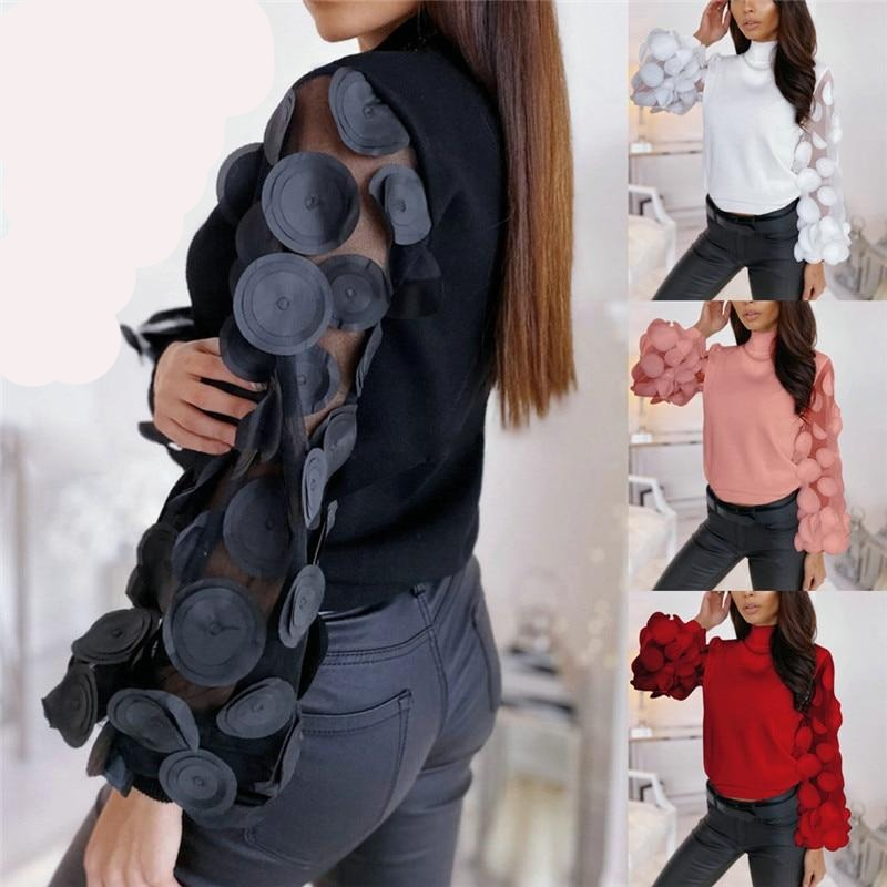 See Through Puff Sleeve Dot Print Lace Slim Women's T-Shirts