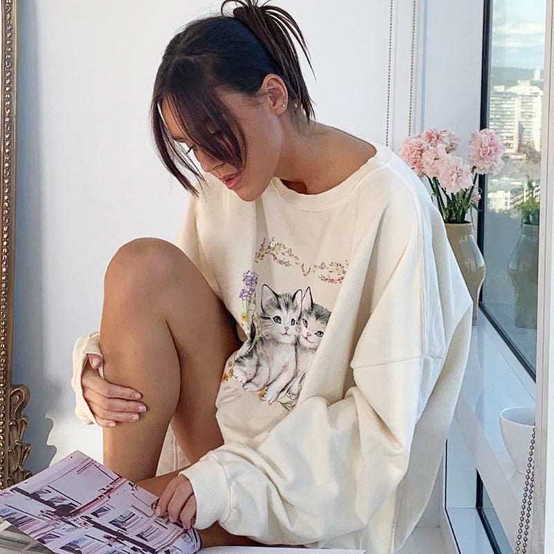 Loose Cute Cat Print White Sweatshirt For Women