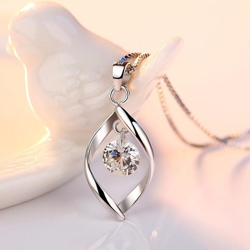 Retro Crystal Water Drop 925 Sterling Silver Women's Pendant Necklace