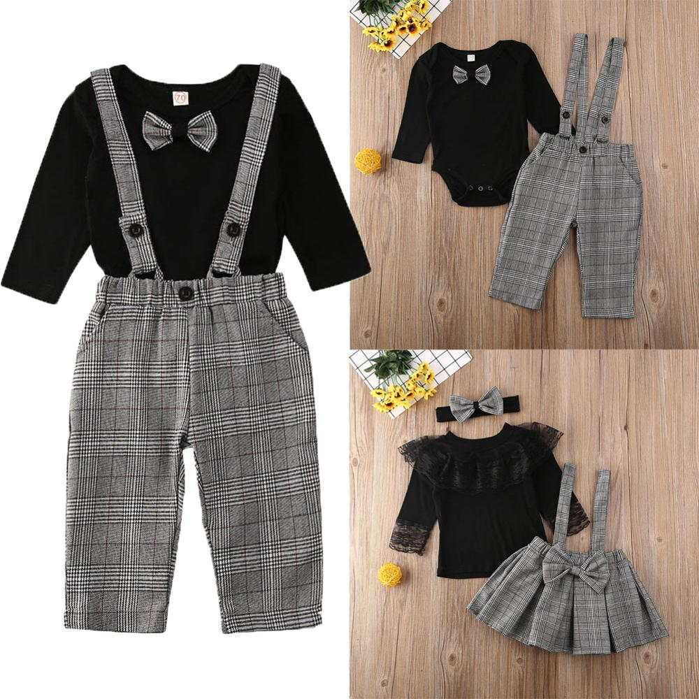 Petal Sleeve Lace Plaid Sister & Brother Matching Clothing Set