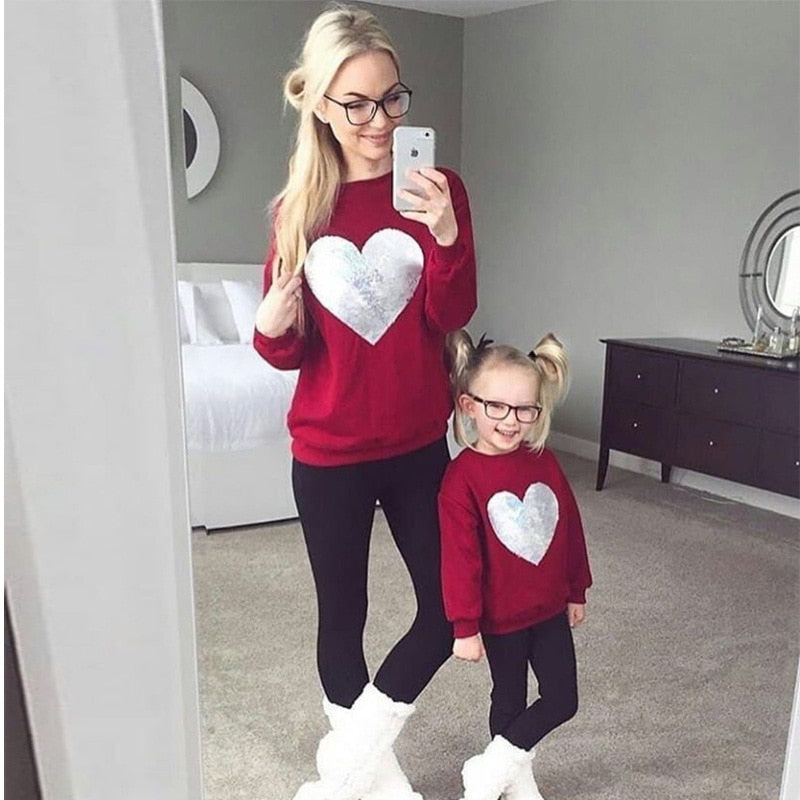 Casual Heart Printed Mother & Daughter Matching Sweatshirt