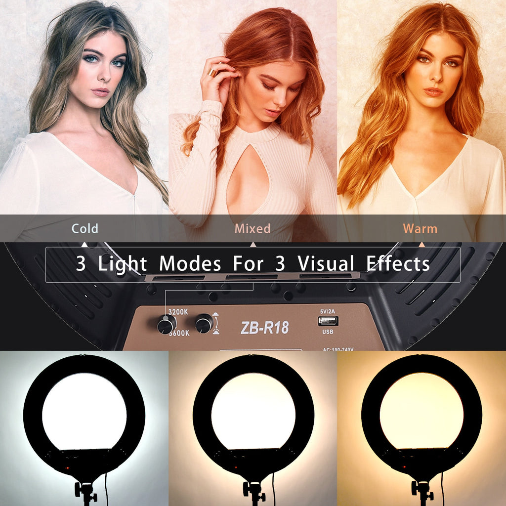 18 Inch Bi-Color LED Photographic Ring Light With Tripod