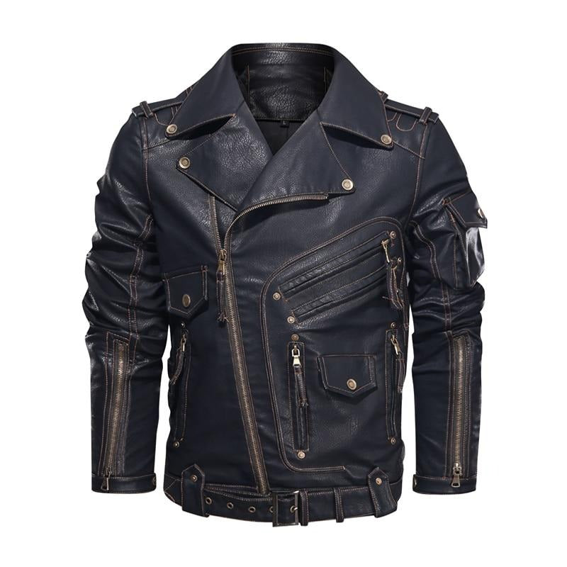 Cool Zipper Pockets Thick PU Leather Motorcycle Men's Jacket
