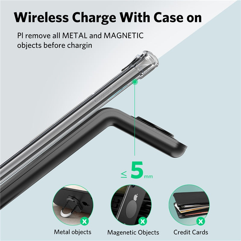3 In 1 Wireless Stand Fast Charger For Apple Watch/Airpods & iPhone Devices