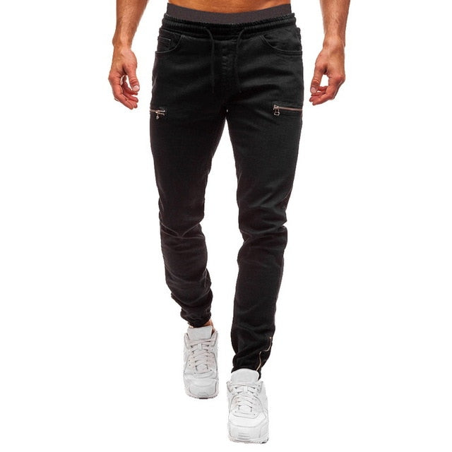 Elastic Drawstring Cuffed Men's Black Jeans Pant