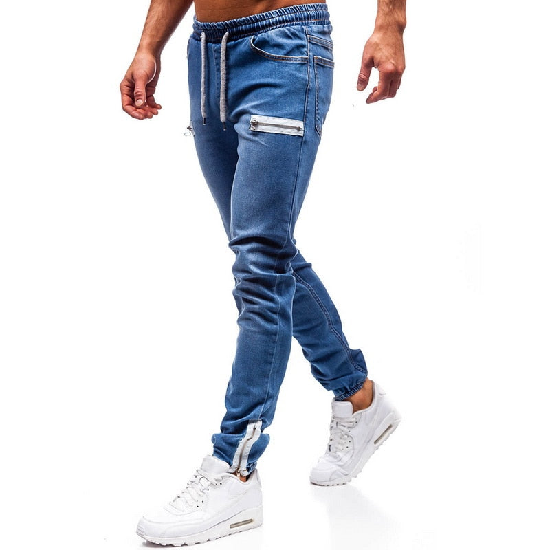 Elastic Drawstring Cuffed Men's Blue Jeans Pant