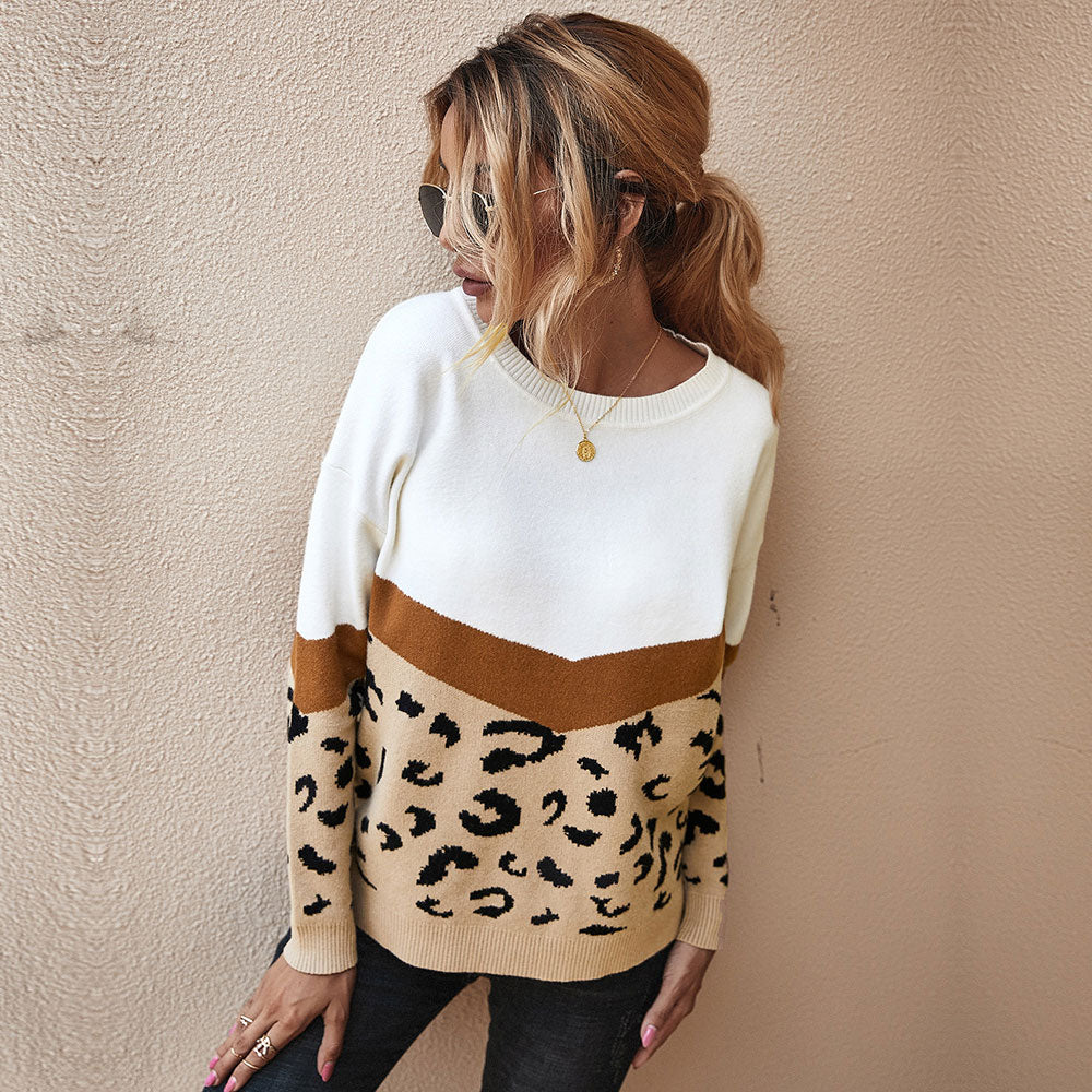 Patchwork O-Neck Leopard Knitted Women's Sweater