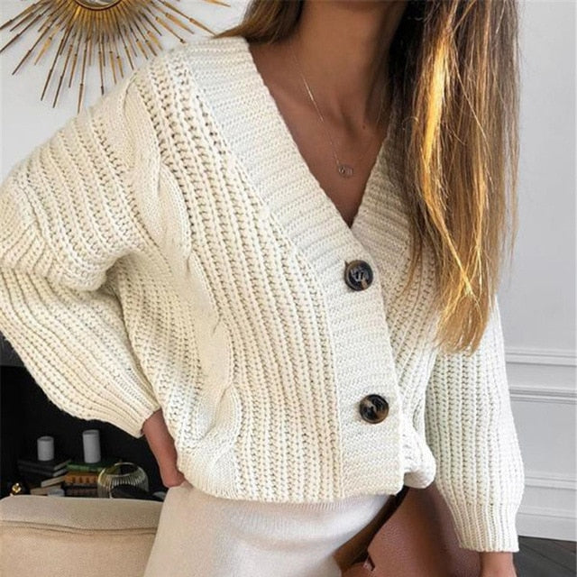 V-Neck Long Sleeve Knitted Women's Short White Cardigan