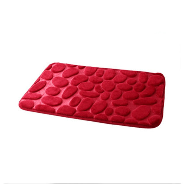 Anti Slip Water Absorption Red Memory Foam Bath Mat