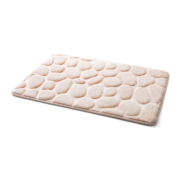 Anti Slip Water Absorption Khaki Memory Foam Bath Mat
