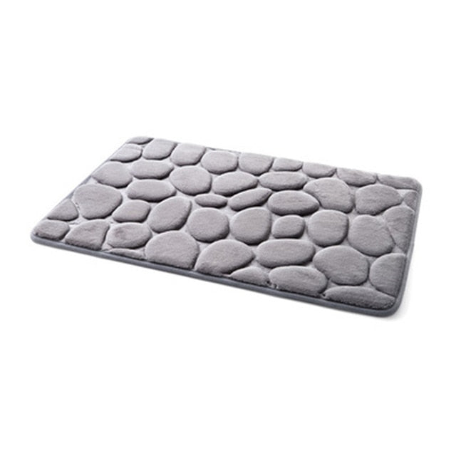 Anti Slip Water Absorption Gray Memory Foam Bath Mat