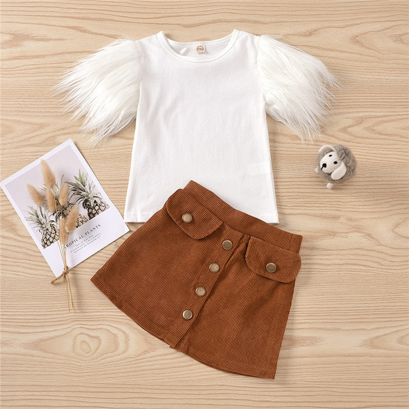Fur Butterfly Short Sleeve T-shirt With Button Skirts For Girls
