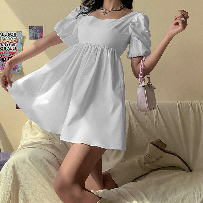 Preppy Style Backless Puff Sleeve White Mini Dress