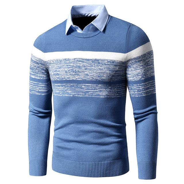 Warm Turn Down Collar Knitted Men's Pullovers
