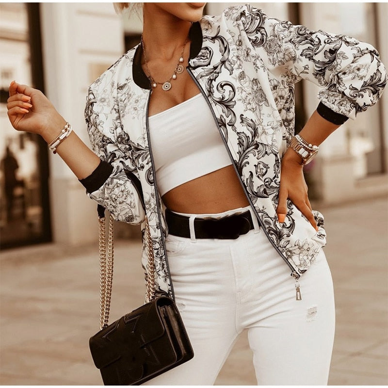 Vintage Skinny Printed Zipper Women's Jacket