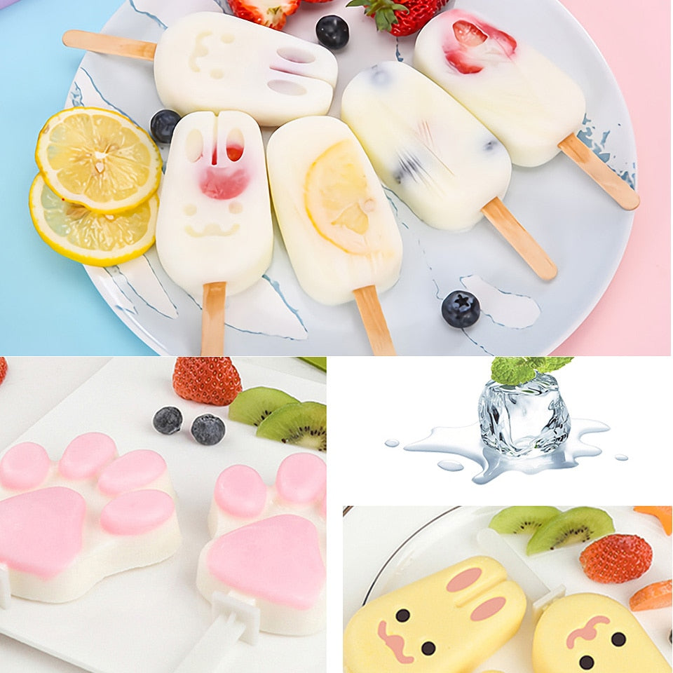 DIY Reusable Cute Cartoon Silicone Ice Cream Mold