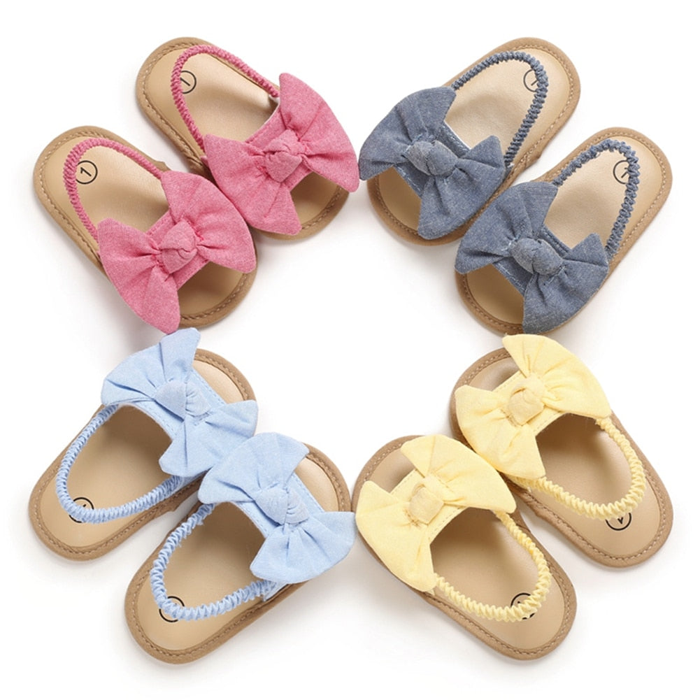 Cute Bow Knot Flat Soft Baby Girls Sandals & First Walkers