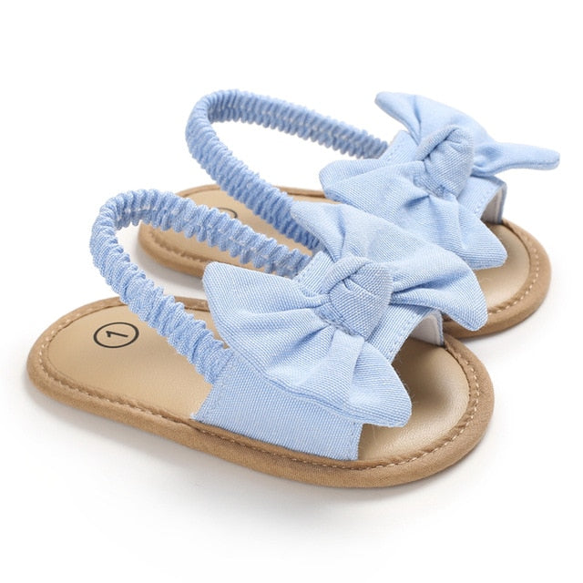 Cute Bow Knot Flat Soft Baby Girls Sandals & Blue First Walkers