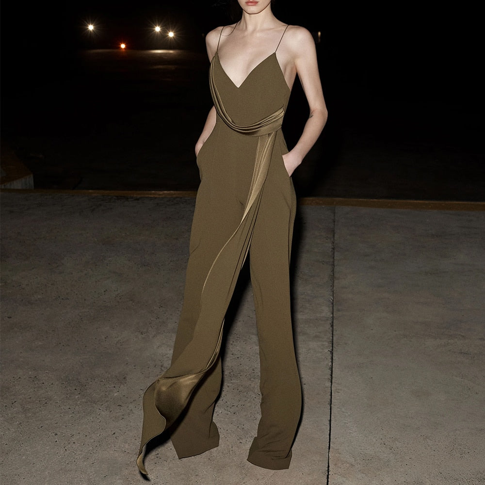 Sleeveless Satin Green Crepe Draped Runway Jumpsuit
