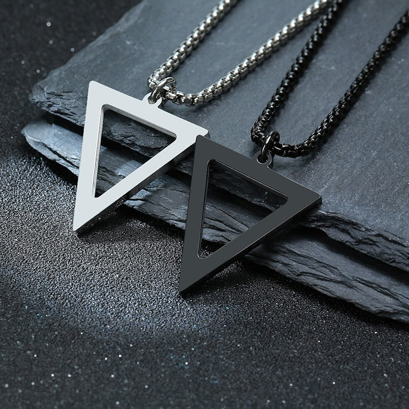 Triangle Geometric Black Stainless Steel Pendant Necklace For Men