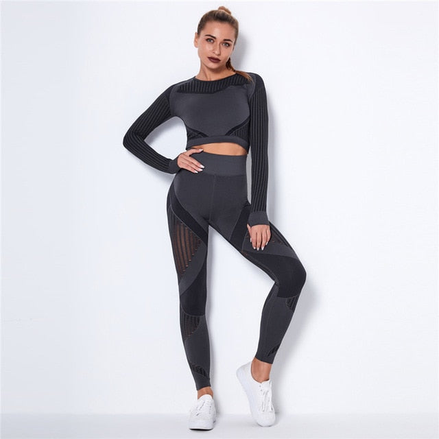 Hollow Out Seamless Women's Black Yoga Set Outfits