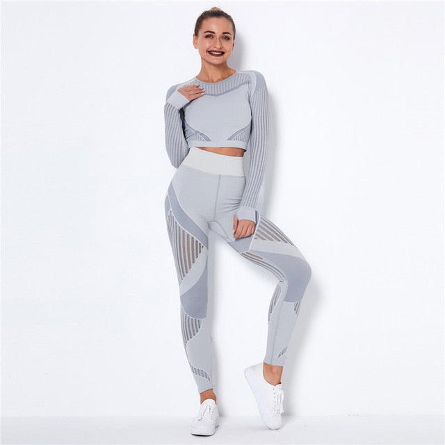 Hollow Out Seamless Women's Grey Yoga Set Outfits