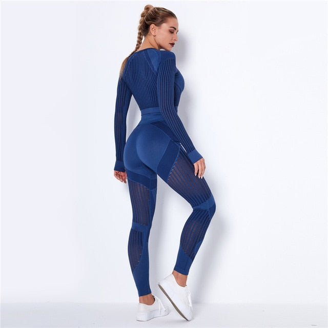Hollow Out Seamless Women's Blue Yoga Set Outfits